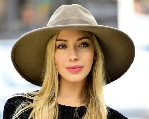 fd1120aa6fc Taupe Fedora Hat Wide Brimmed Hat Women s Hat Spring Fashion Spring  Accessories Felt Fedora Hat Cust