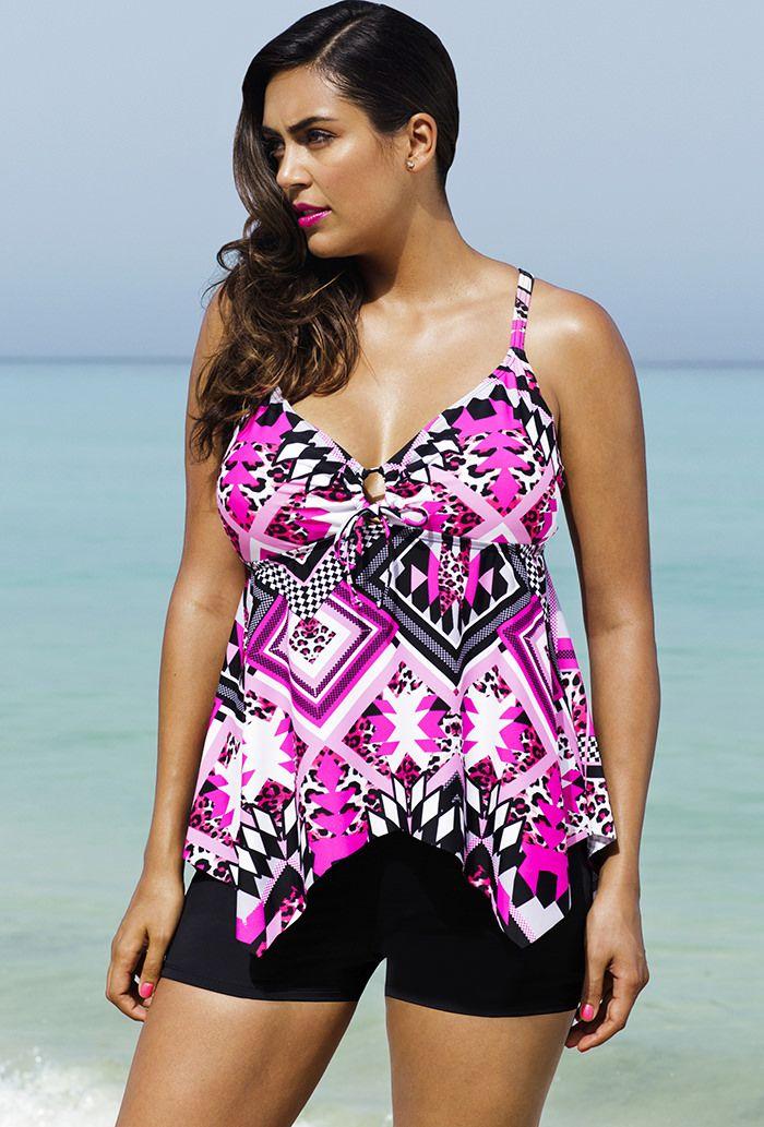 Shore Club Pink Prism Plus Size Handkerchief Boy Shortini | THICK ...