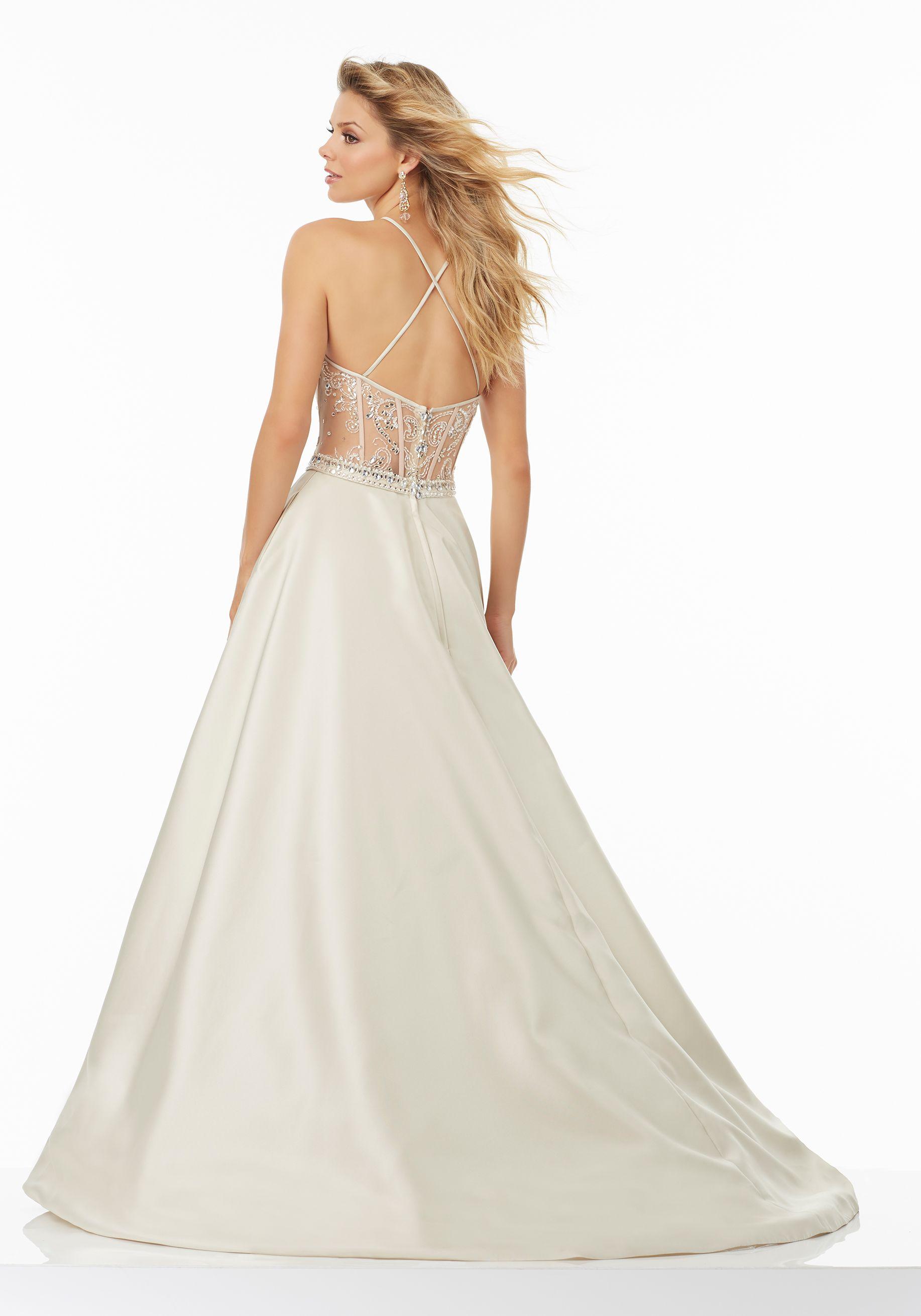 3538abeaf3 Larissa Satin Prom Gown with Beaded Net Illusion Bodice