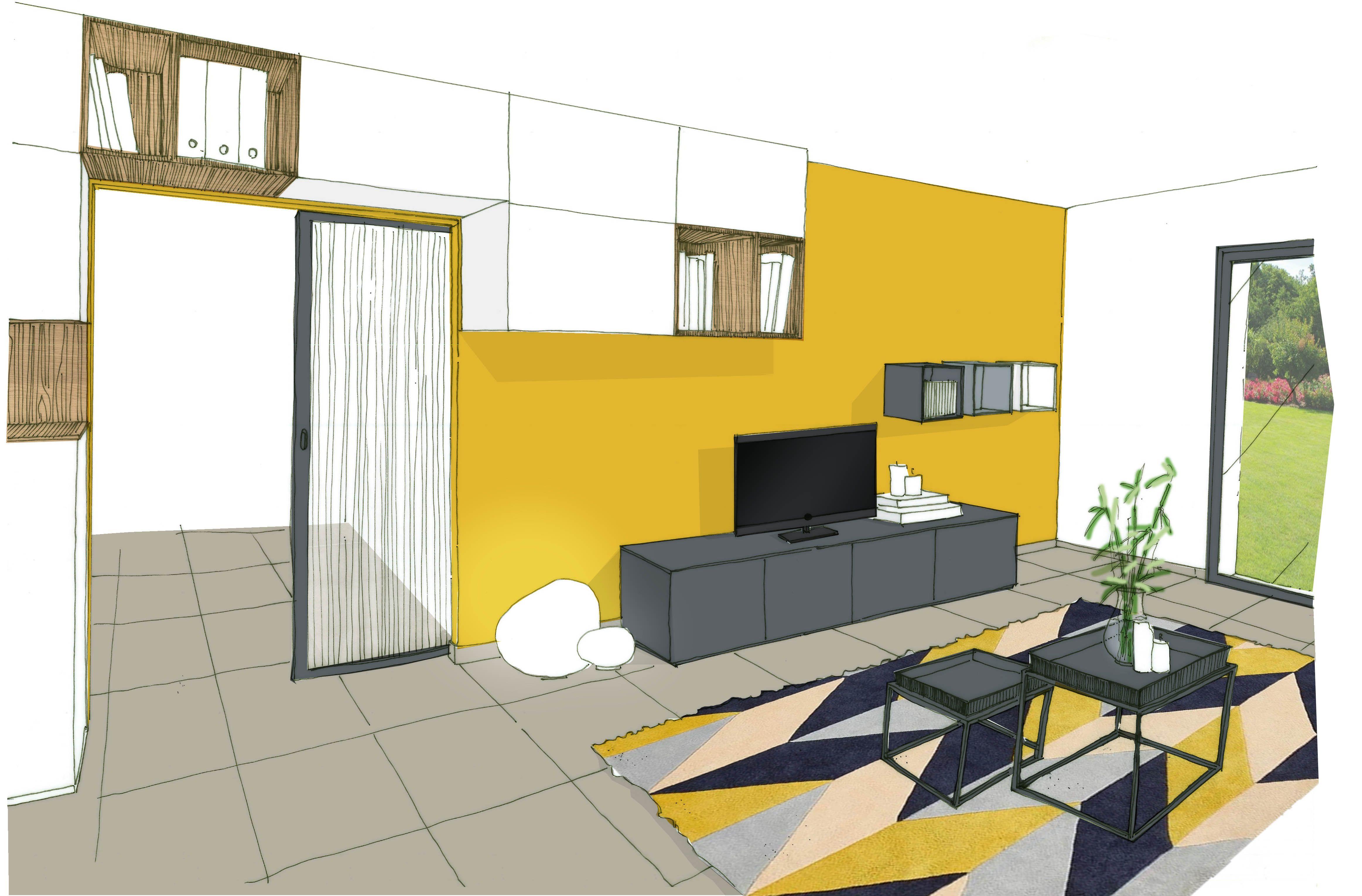 Croquis bureau jaune réalisation keidue² agence d architecture