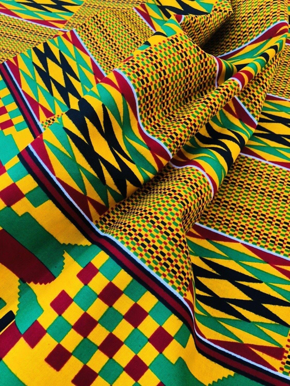 African kente imprimer tissu ethnique Ghanian Cire Lumineux /& Coloré par yard