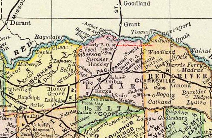 Lamar County Texas 1897 Map Paris Roxton Fulbright