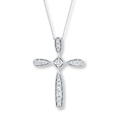 2f8ea8be7 Cross Necklace 3/8 ct tw Diamonds 10K White Gold   Products   Gold ...