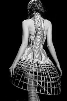 Gautier dress which combines elements of crinoline, corset, spine, and birdcage.