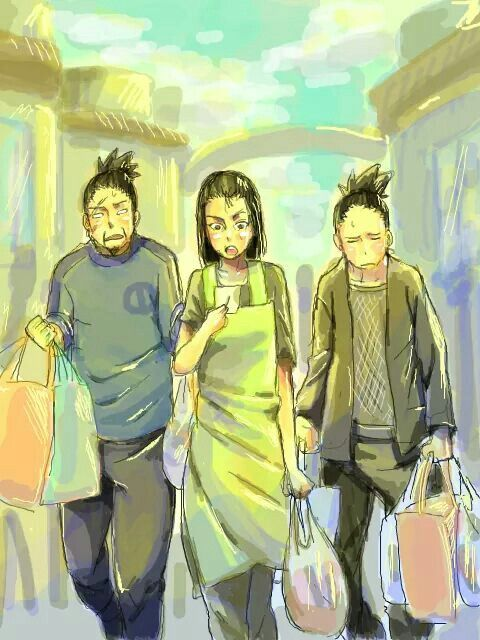 The Nara family: Shikamaru, Shikaku, and Yoshino. #Naruto