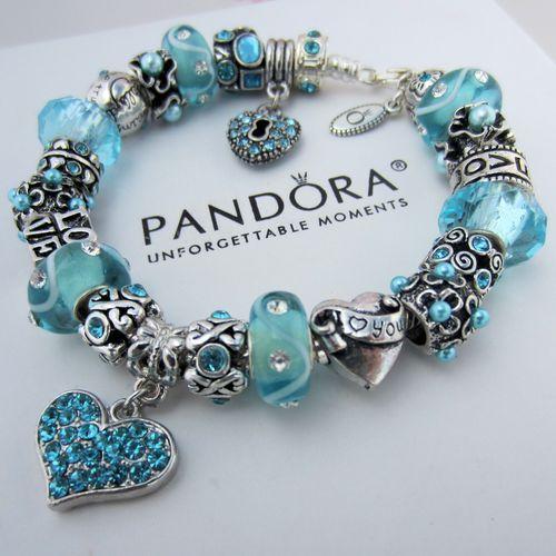 Authentic Pandora Silver Charm Bracelet w/ Blue Crystal Heart Love Heart Beads