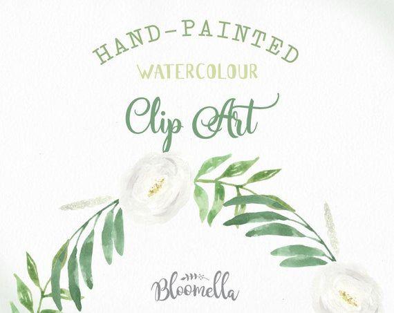 Aquarell weiße Blumen Kranz Hochzeit Blumen Clipart – Garland handgemalt INSTANT Download Bridal Green Art PNG & JPEG Hochzeit Blätter   – Products