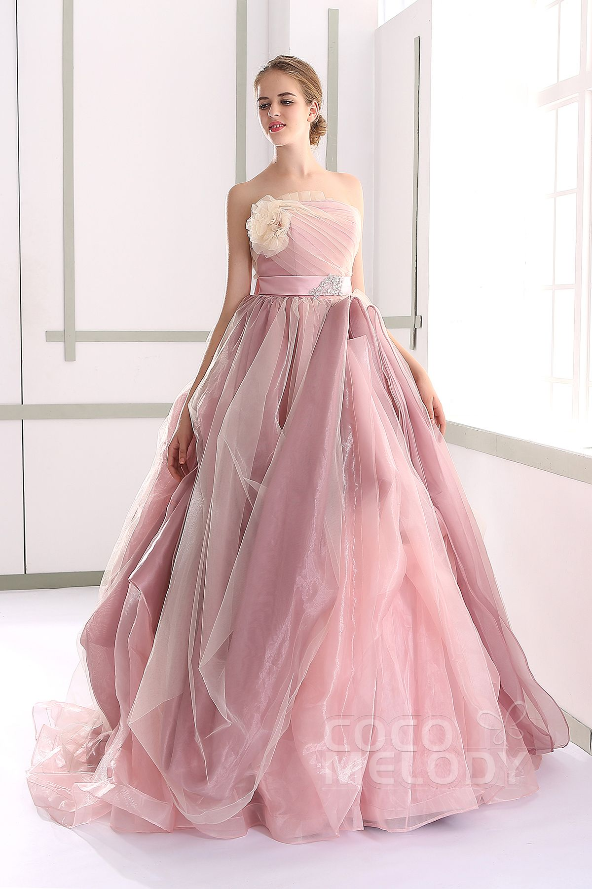 Chic+A-line+Strapless+Natural+Tulle+Pink+Sleeveless+Lace+Up-Corset+ ...