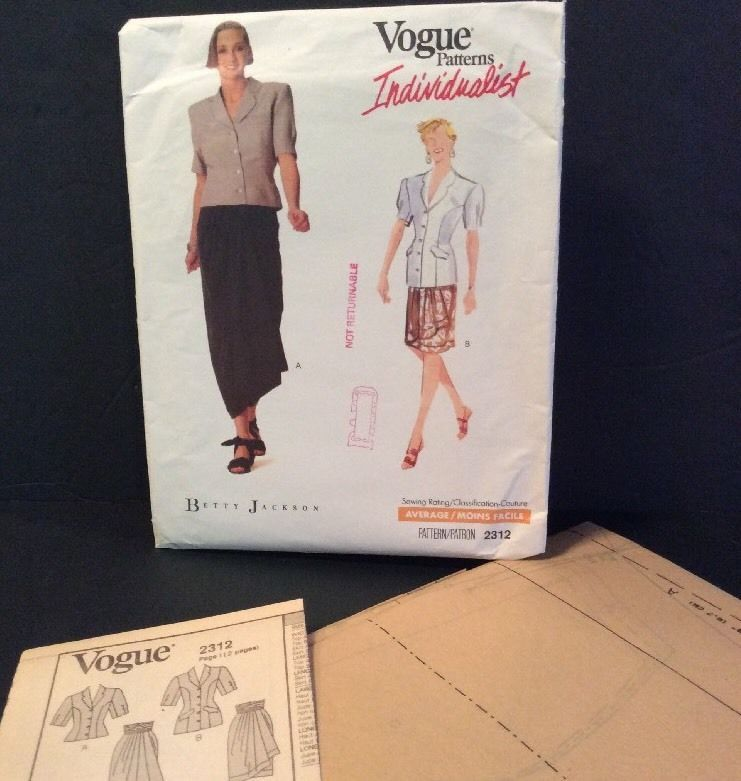 Vogue Sewing Pattern Betty Jackson 2312 18 20 22 Top Skirt ...