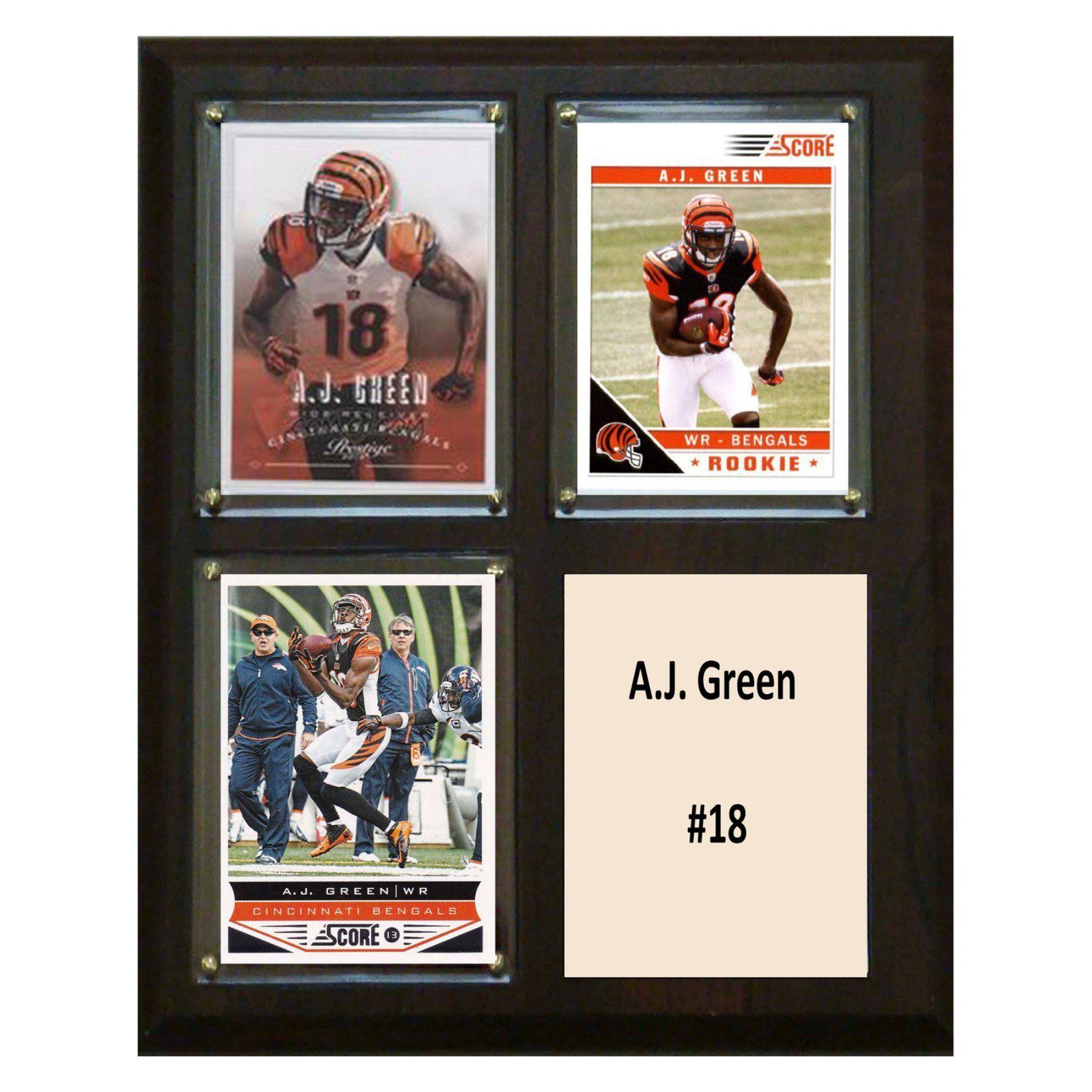C & I Collectables NFL 8 x 10 in. Cincinnati Bengals Three Card Plaque - 810GREEN3C