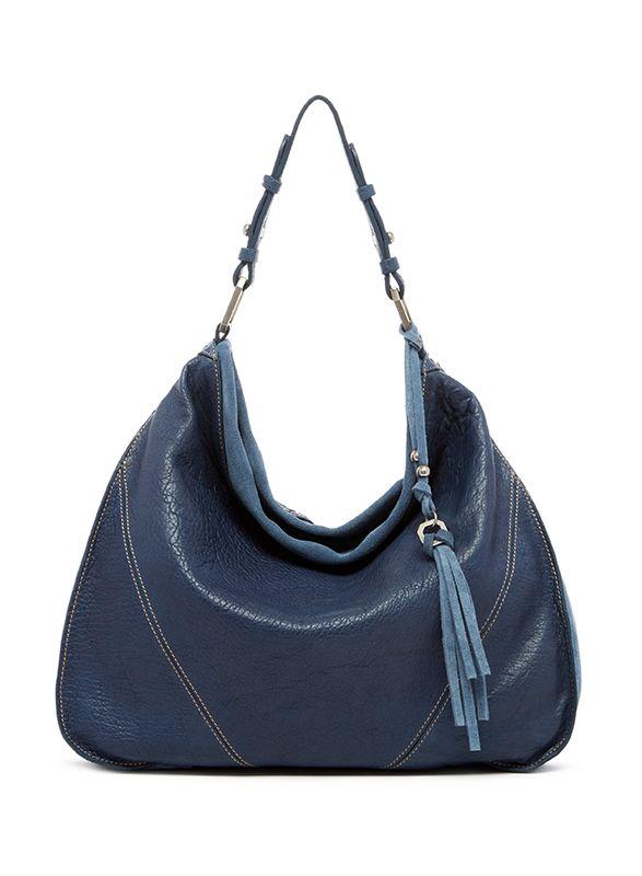 Ella Moss Groupie Leather Suede Hobo Denim Blue 298 Lufli
