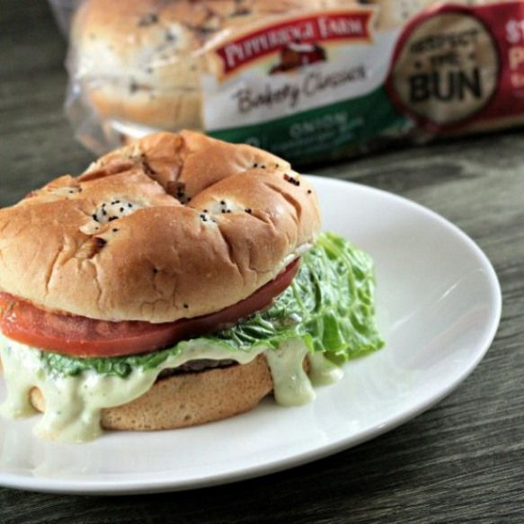 Ranch Grilled Burger. An easy avocado ranch sauce take this burger to the next level! Avocado Ranch