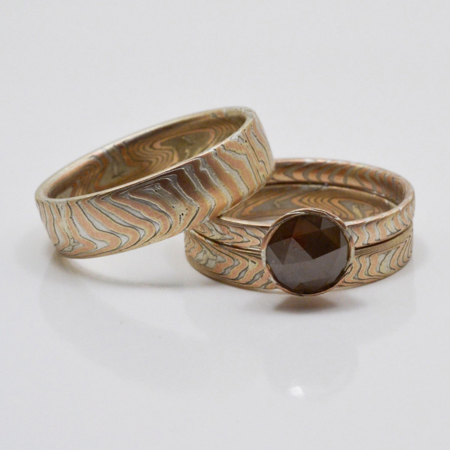 Matched Wedding Set in 14kt Red Gold and Sterling Silver Mokume