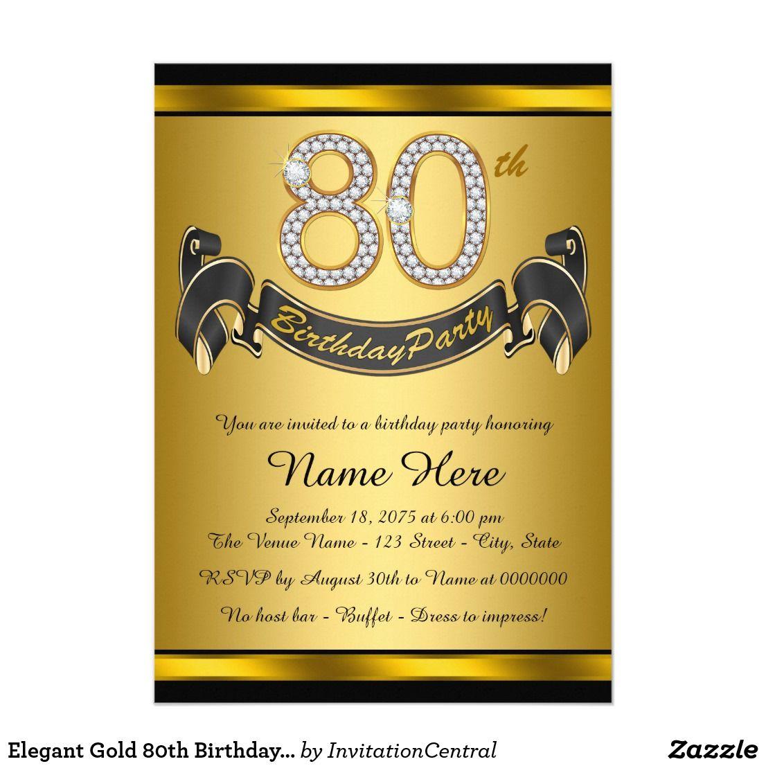 Elegant Gold 80th Birthday Party