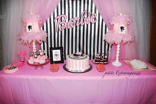 Vintage Barbie Birthday Party Ideas Barbie birthday Dessert table