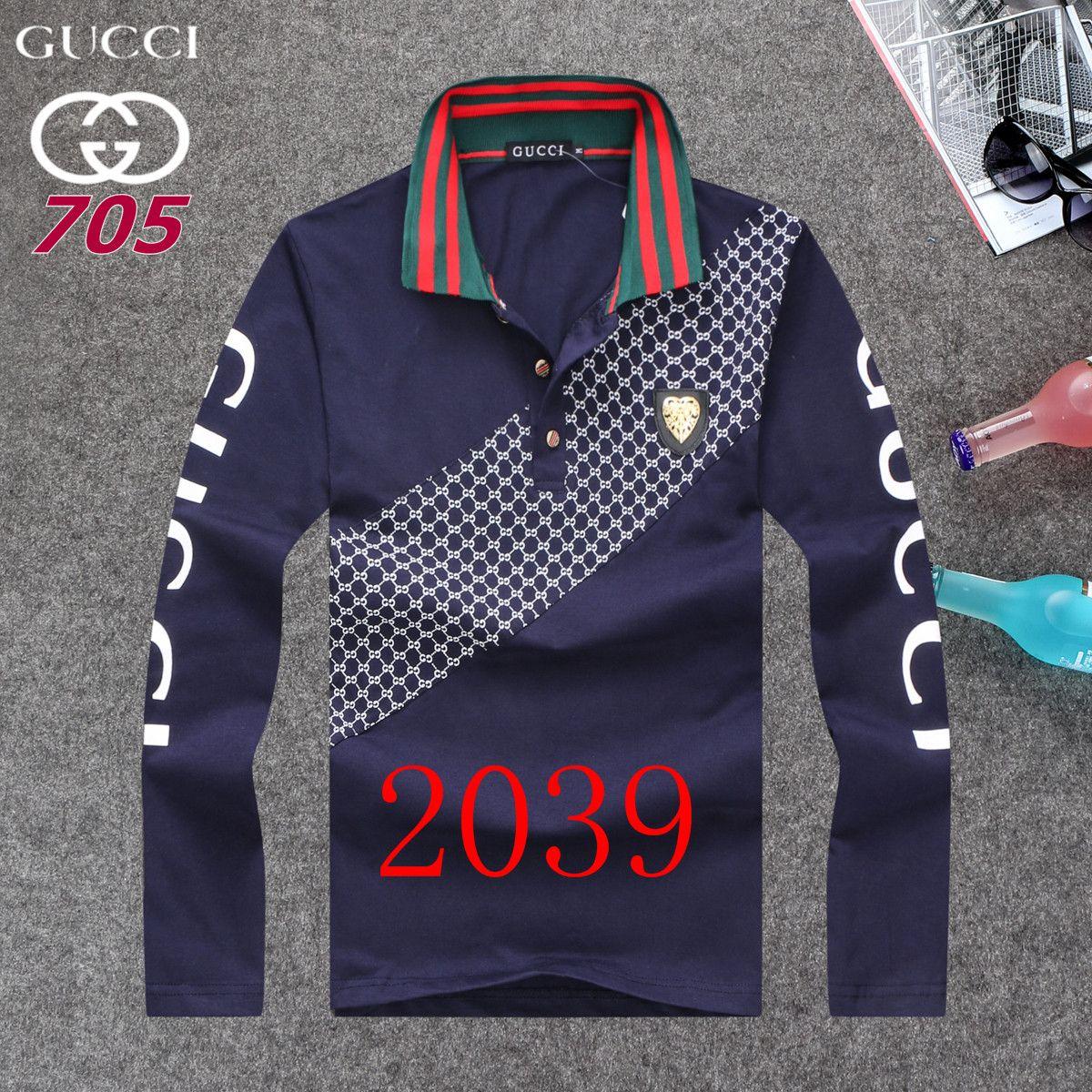 Gucci Long Sleeve Polo Shirts Men Gg86883 Son Polo Shirt Shirts