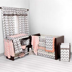 Bacati Ikat Dots/Stripes 4-Piece Crib Set with 2 Muslin Blankets, Coral/Gray