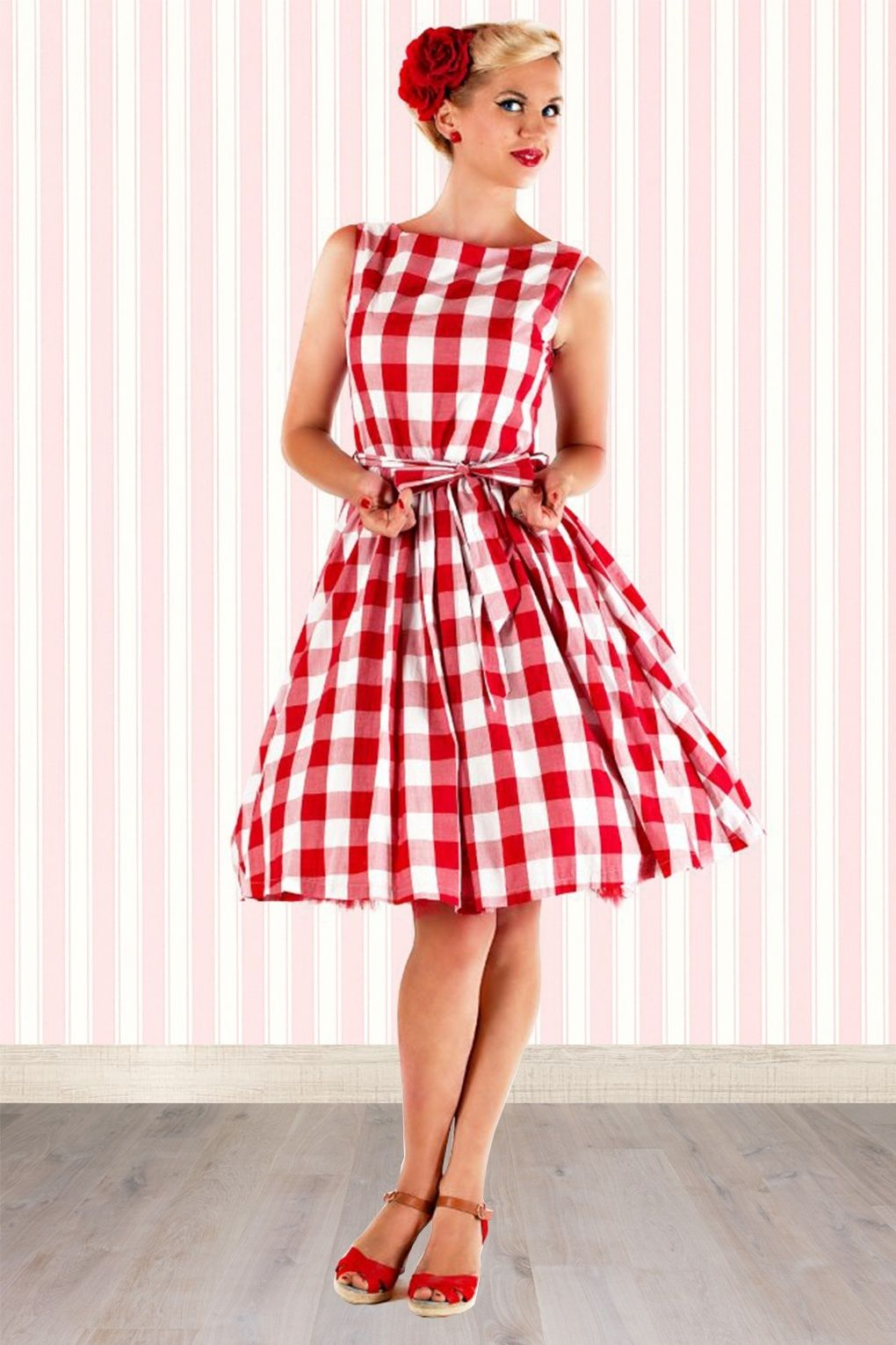 50s Audrey Picnic Swing Dress in Red And White | Rockabilly style ...