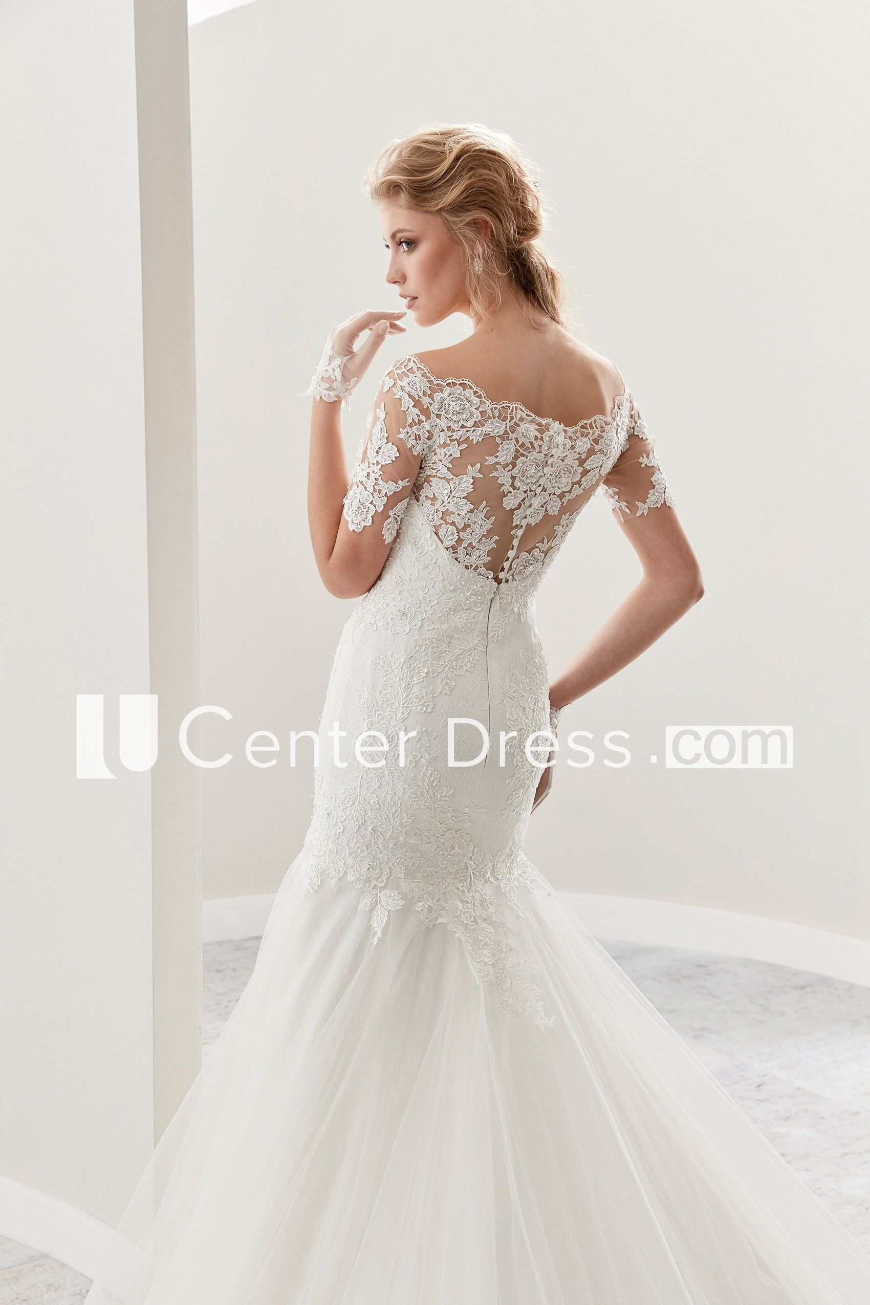 Wedding dress with lace sleeves  ScallopedNeck Mermaid Lace Gown With TShirt Sleeves And Ruffles