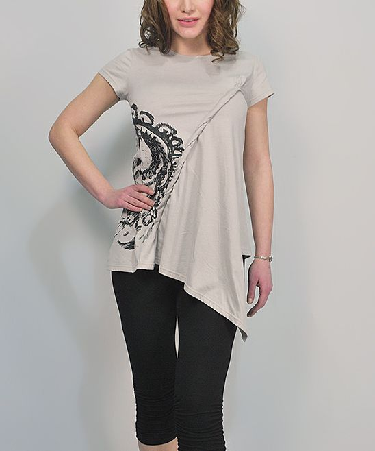 Gray & Black Rolled Sidetail Top | zulily