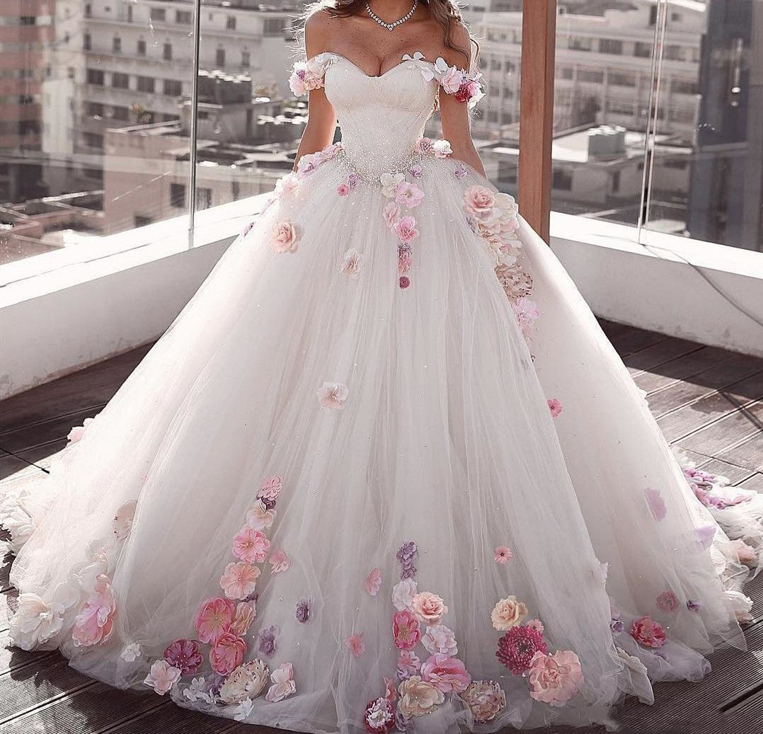 Off The Shoulder Ivory Wedding Dresses 2020 Ball Gown Princess Bridal Gowns With Hand Made Flowers C Ball Gown Wedding Dress Wedding Dress Trends Ball Dresses [ jpg ]