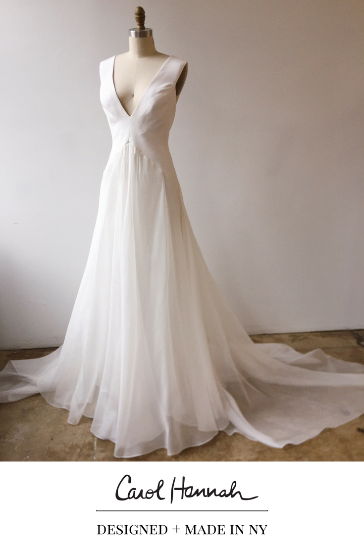 Deep V Neck A Line Wedding Gown In Crepe And Organza Full Flowy Skirt And Interesting Seams B Wedding Dresses Whimsical Wedding Dresses Perfect Wedding Dress [ 1102 x 735 Pixel ]