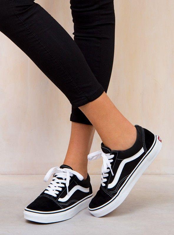 Vans Black Old Skool | Vans shoes women, Vans black old