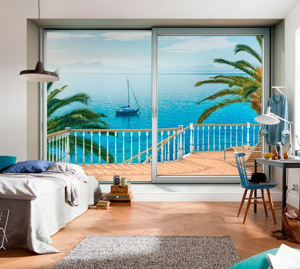 Fotomural ventana vista playa de f cil colocaci n - Fotomurales pared ...