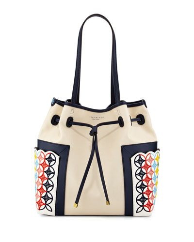 V2UAP Tory Burch Block-T Embroidered Bucket Bag, Natural