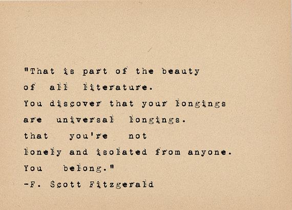 F Scott Fitzgerald Quote   Book Lover Art   Literary Art Quote