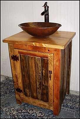 rustic bathroom vanities vessel sinks. Rustic Bathroom Vanity With Copper Vessel Sink By CantonAntiques LOG  MS1373 25 Pump Faucet