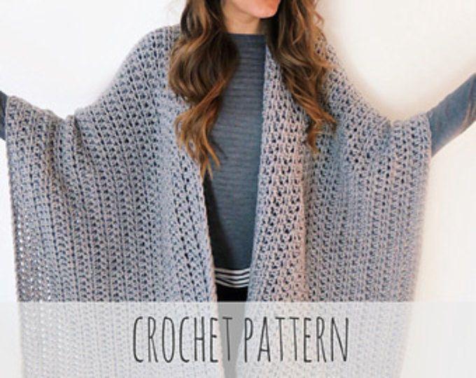 Crochet Ruana Blanket Poncho PATTERN / Blanket Wrap / Easy Crochet ...