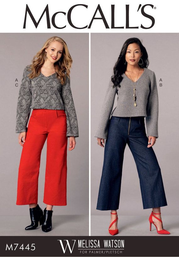 Stretch Knit Top And Pants Pattern Wide Leg Cropped By Blue510