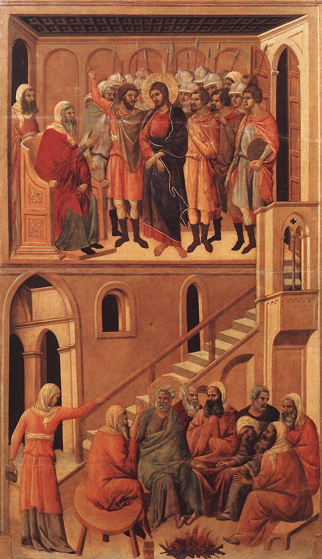 DUCCIO di Buoninsegna Christ before Annas and Peter Denying Jesus 1308-11 Tempera on wood, 99 x 53,5 cm Museo dell'Opera del Duomo, Siena
