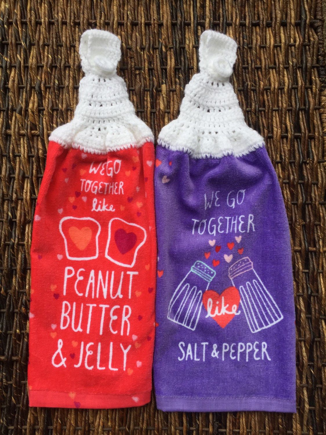 Crocheted Hanging Kitchen Towels, Valentine\'s, We Go Together ...
