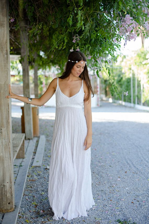 Long Pure White Linen Dress with Adjustable Straps by