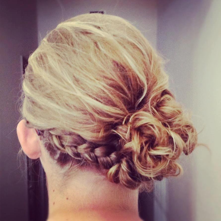Updo with braid by Callie Lathan.   Ball hairstyles, Hair beauty, Hair