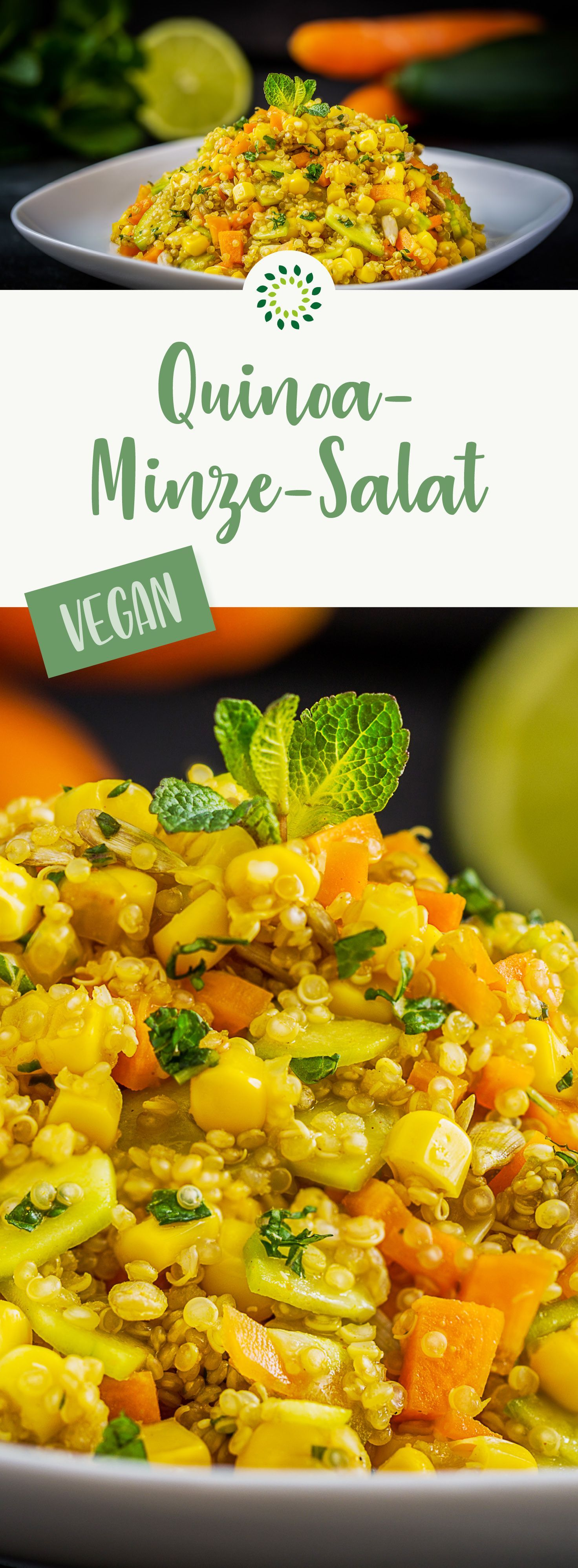 Quinoa salad with mixed vegetables and mint -  Quinoa-mint salad: Together with a little lime juice