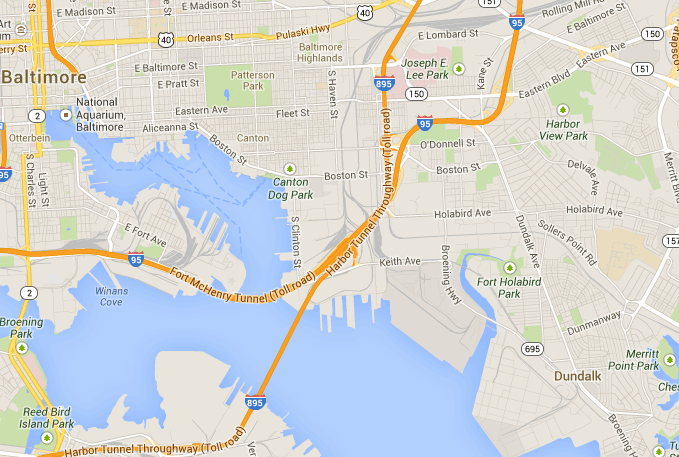 Canton, Baltimore, Maryland Zip Code Boundary Map (MD)