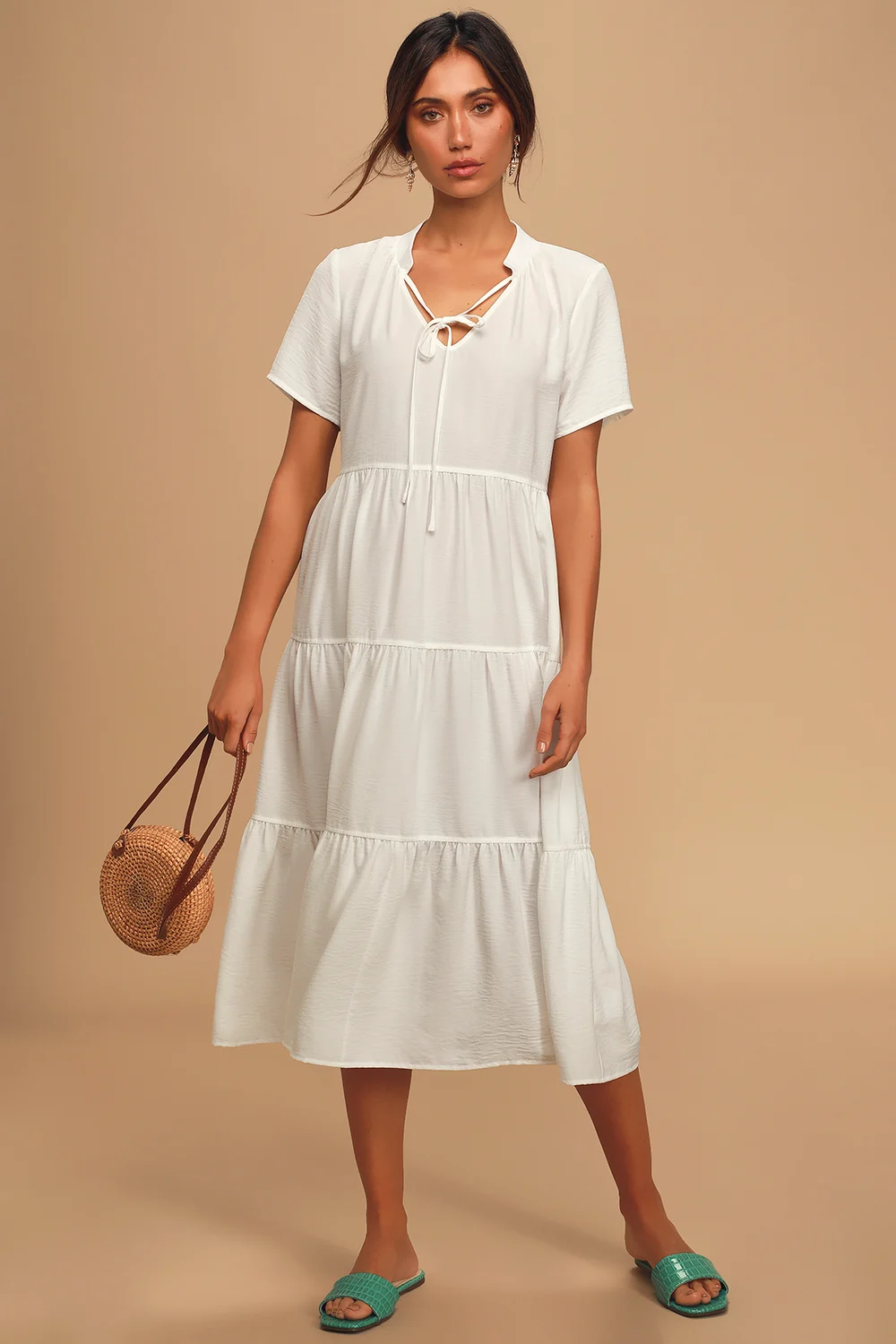 Lovely To Meet You White Short Sleeve Tiered Midi Dress Midi Short Sleeve Dress White Short Dress Long White Dress [ 1500 x 1000 Pixel ]
