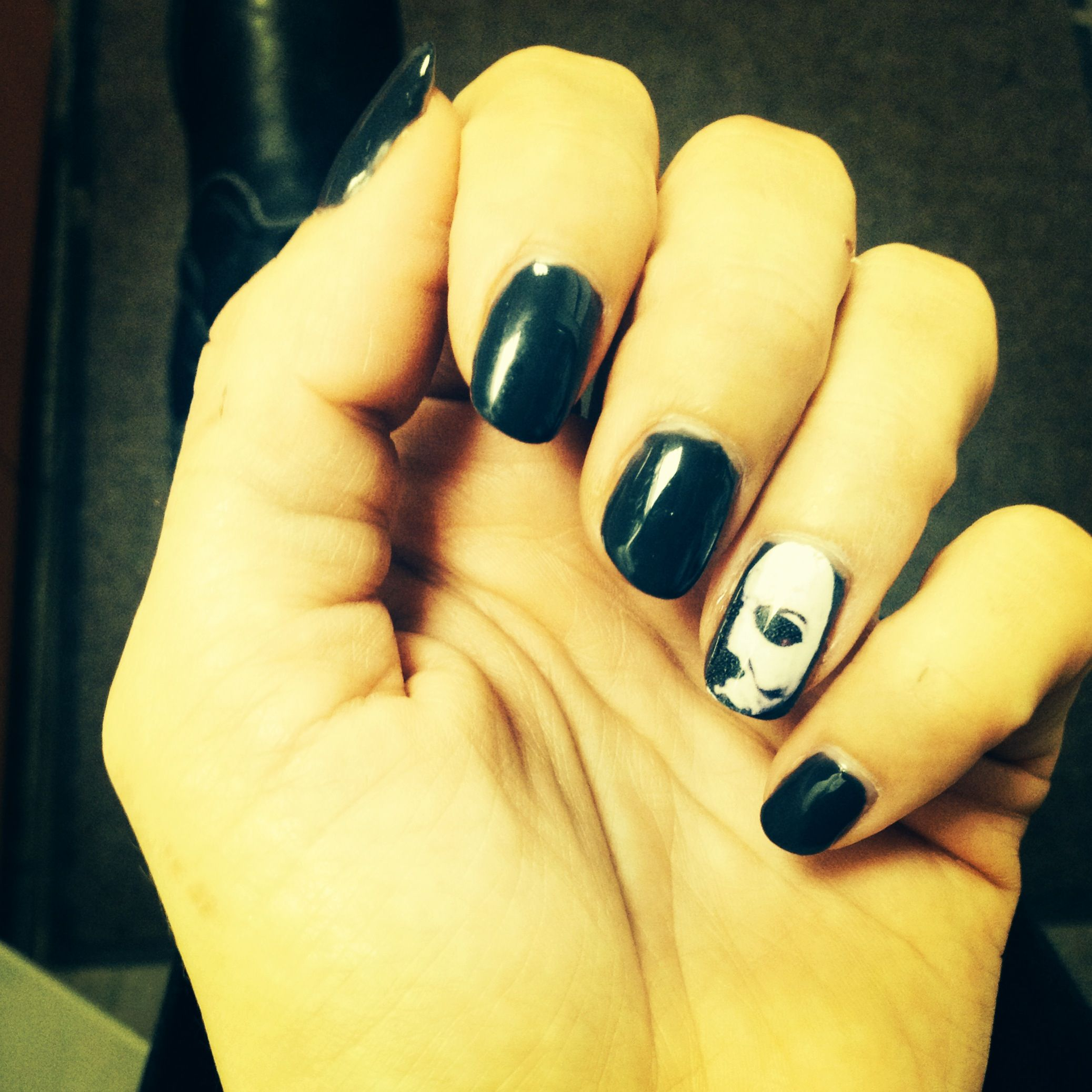 My shellac Michael Myers manicure ..awesome! | Fake nails ...