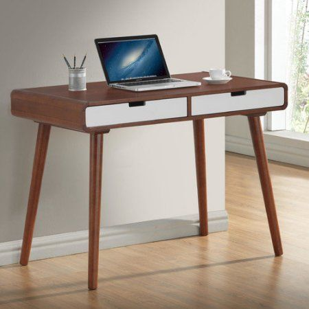 Baxton Studio Casarano Mid Century Modern Dark Walnut And White 2 Tone Finish 2 Drawer Wood Home Office Writing Desk Walmart Com Home Office Decor Writing Desk Home Office Furniture