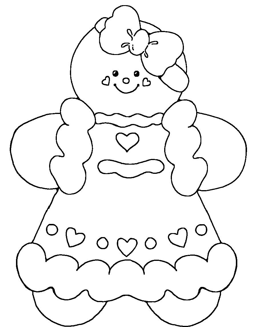 Gingerbread Baby Girl Coloring Pages Printable Christmas