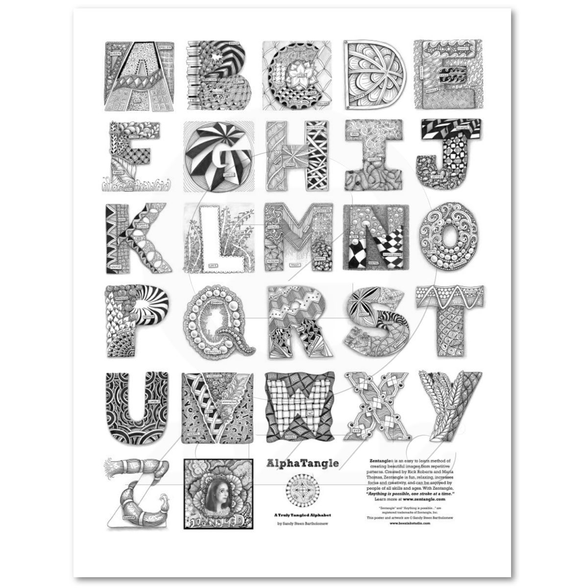 Alphatangle Poster Zazzle Com Designs Coloring Books Zentangle Coloring Book Art