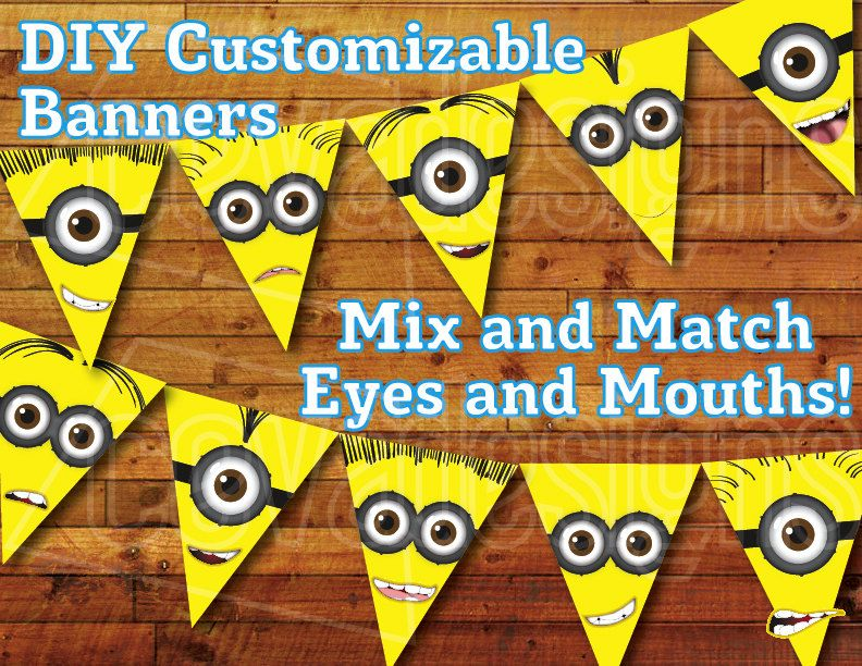 Printable Minion Birthday Decoration Minion Party Bunting by