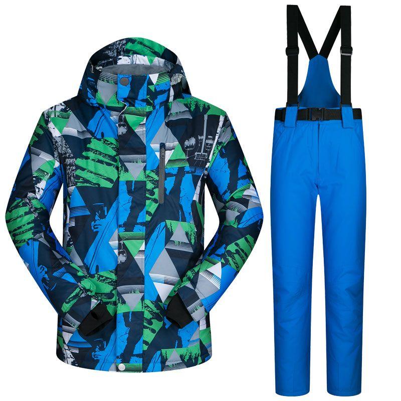 Men Ski Suit Winter Waterproof Windproof Jacket Thicken Warm Snow Clothes Sets