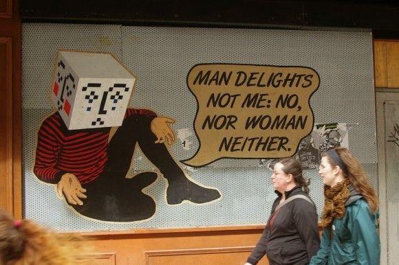 Street art in Glasgow, UK, by artist Peter Drew Quote from Shakespeare's Hamlet