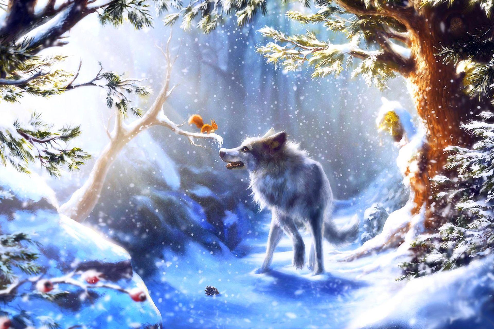 фотообои с зимним лесом волками белыми совами тому