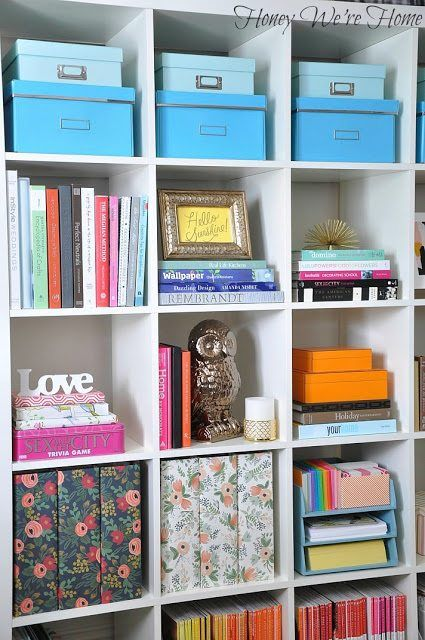 I M Forever Rearranging The Items In My Home Office Bookshelf Have Large Ikea Expedit Which Is Perfect For Housing Books Containers Photos