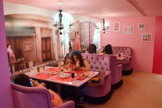 Local ladies enjoying the pretty pink vibe at Barbie Cafe | Interior ...